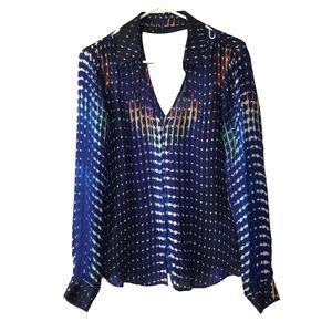 Parker Silk Pattern Button Up Shirt - M
